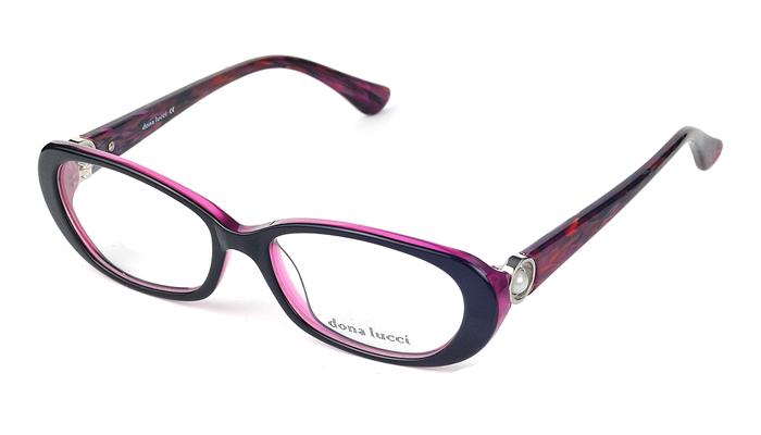 Dámske plastové čierno - ružové dioptrické okuliare 0228