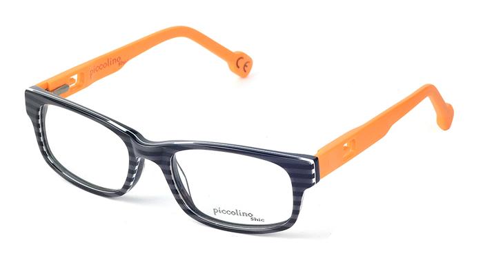 Detské plastové čierno - oranžové dioptrické okuliare 0385