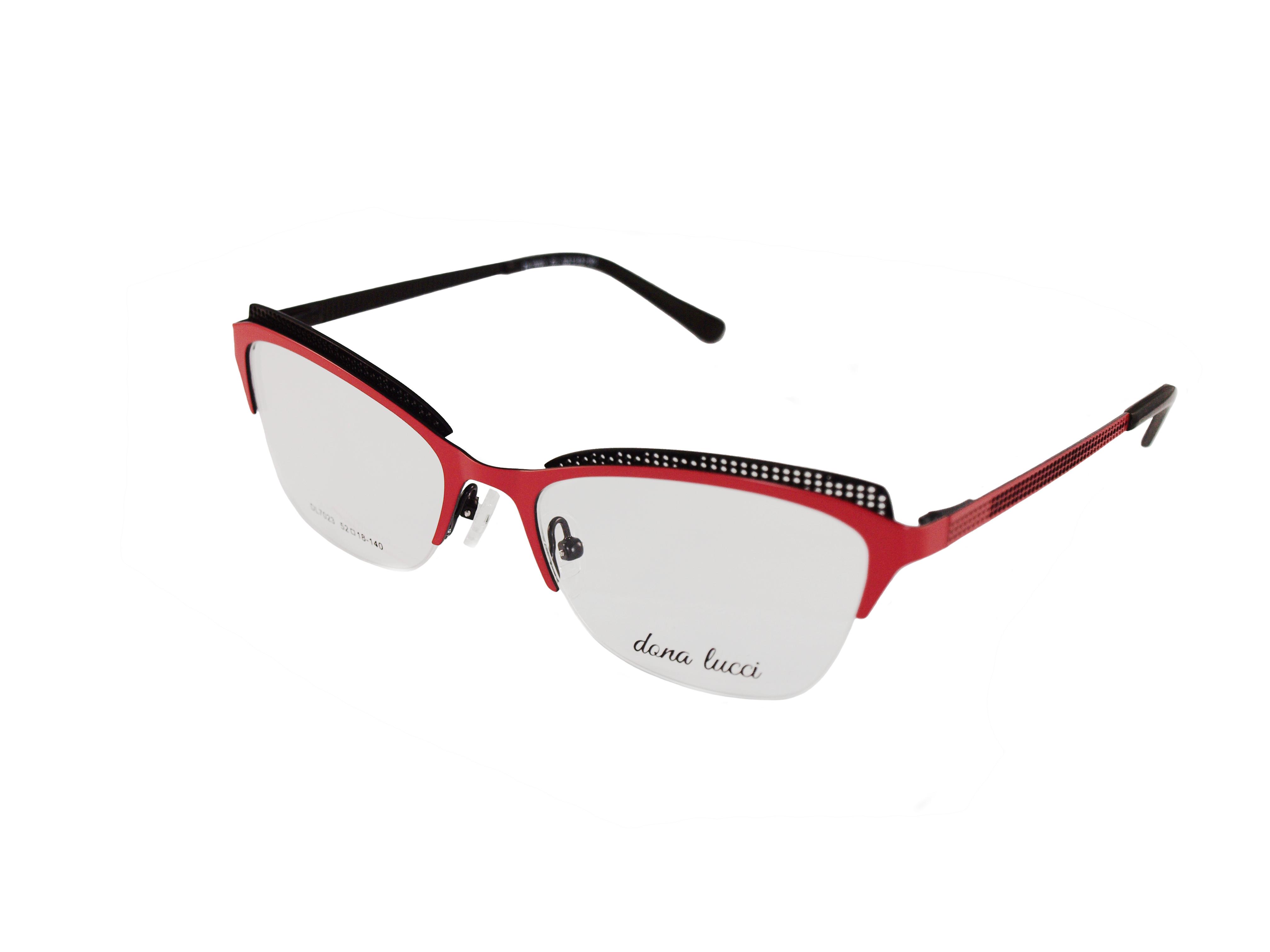 Dámske kovové červeno-čierne dioptrické okuliare 0736