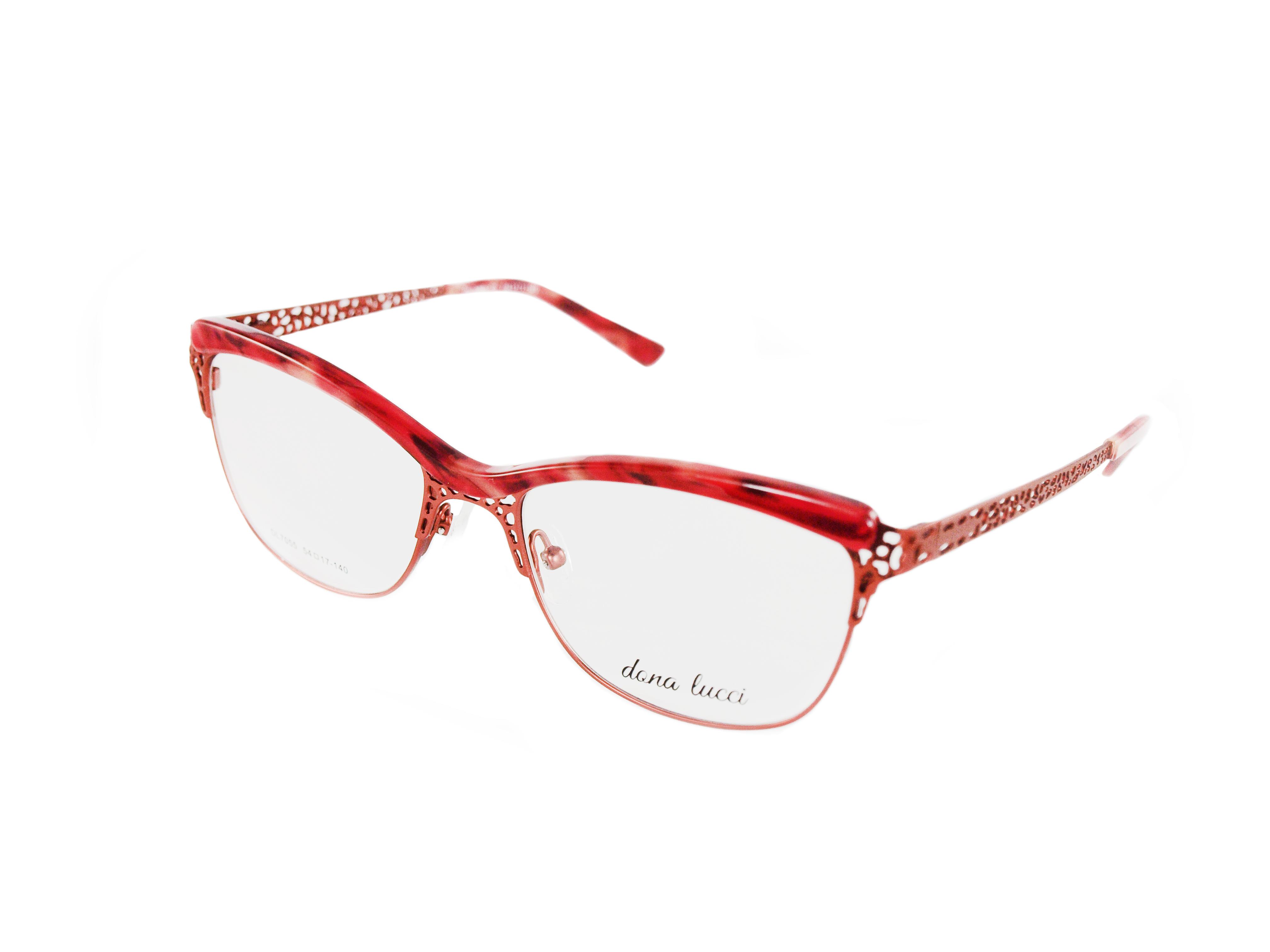 Dámske kovové červené dioptrické okuliare 0737